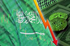 Saudi Arabia flag and cryptocurrency falling trend with two bitcoins on dollar bills and binary code display. Concept of reduction Bitcoin in price and bad stock illustration