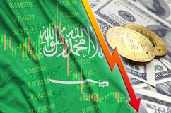 Saudi Arabia flag and cryptocurrency falling trend with two bitcoins on dollar bills. Concept of depreciation Bitcoin in price against the dollar royalty free illustration