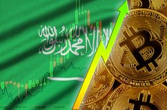 Saudi Arabia flag and cryptocurrency growing trend with many golden bitcoins. Saudi Arabia flag  and cryptocurrency growing trend with many golden bitcoins royalty free stock photos