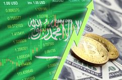 Saudi Arabia flag and cryptocurrency growing trend with two bitcoins on dollar bills. Concept of raising Bitcoin in price against the dollar vector illustration