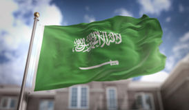 Saudi Arabia Flag 3D Rendering on Blue Sky Building Background Royalty Free Stock Images