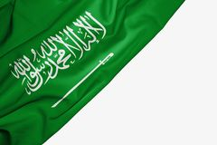 Saudi Arabia flag of fabric with copyspace for your text on white background. Arabian banner best capital colorful competition country ensign free freedom glory royalty free illustration