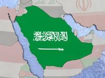 Saudi Arabia with flag on globe Royalty Free Stock Photo