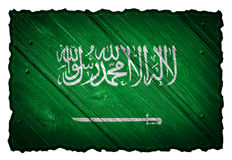 Saudi Arabia flag. Painted on wooden tag. Isolated on white background stock images