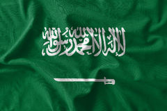 Saudi Arabia flag painting on high detail of wave cotton fabrics. 3D illustration Stock Photo