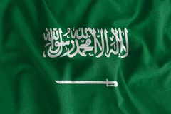Saudi Arabia flag painting on high detail of wave cotton fabrics. 3D illustration Stock Image