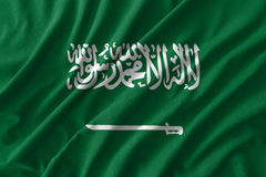 Saudi Arabia flag painting on high detail of wave cotton fabrics. 3D illustration Stock Photography