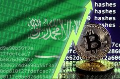 Saudi Arabia flag and rising green arrow on bitcoin mining screen and two physical golden bitcoins. Concept of high conversion in cryptocurrency mining vector illustration