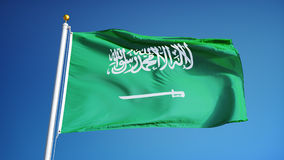Saudi Arabia flag in slow motion seamlessly looped with alpha stock video footage