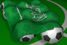 Saudi Arabia flag and soccer-balls. 3D-rendering Saudi Arabia flag and soccer-balls - competitor of World Championship 2006 Stock Photo