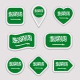 Saudi Arabia flag vector set. Saudi Arabian flags stickers collection. Isolated geometric icons. National symbols badges. Web, spo stock illustration