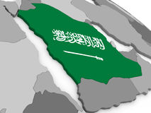 Saudi Arabia on globe with flag Stock Photography