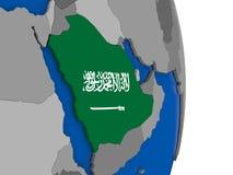 Saudi Arabia on globe with flag Royalty Free Stock Photography