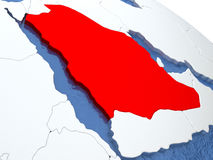 Saudi Arabia on globe Royalty Free Stock Photo