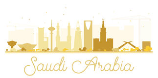 Saudi Arabia golden skyline silhouette. Vector illustration. Simple flat concept for tourism presentation, banner, placard or web site. Business travel concept stock illustration