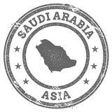 Saudi Arabia grunge rubber stamp map and text. Royalty Free Stock Images