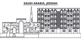 Saudi Arabia, Jeddah line skyline vector illustration. Saudi Arabia, Jeddah linear cityscape with famous landmarks, city stock illustration