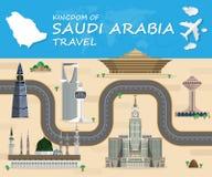 SAUDI ARABIA Landmark Global Travel And Journey Infographic  Stock Images