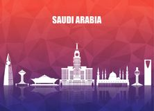 Saudi Arabia Landmark Global Travel And Journey paper background. Vector Design Template.used for your advertisement, book, banner, template, travel business Stock Images