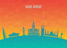 Saudi Arabia Landmark Global Travel And Journey paper background. Vector Design Template.used for your advertisement, book, banner, template, travel business Royalty Free Stock Image