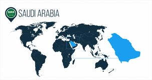 Saudi Arabia location on the world map for infographics. All world countries without names. Saudi Arabia round flag in the map pin. Or marker. vector vector illustration