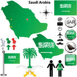 Saudi Arabia map. Vector of Saudi Arabia set with detailed country shape with region borders, flags and icons vector illustration