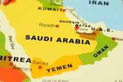 Saudi Arabia on map Stock Images