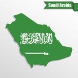 Saudi Arabia map with flag inside and ribbon Stock Photos