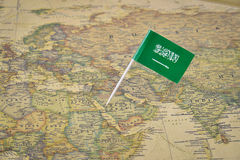 Saudi Arabia map and flag royalty free stock images