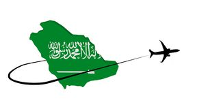 Saudi Arabia map flag with plane and swoosh illustration Royalty Free Stock Photos