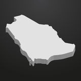 Saudi Arabia map in gray on a black background 3d Stock Photography