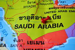Saudi arabia map. Macro shot of saudi arabia map with push pin Stock Photography