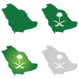 Saudi Arabia Map and National Logo Royalty Free Stock Photography