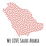 Saudi Arabia Map with red hearts - symbol of love. abstract background. Saudi Arabia Map with red hearts- symbol of love. abstract background with text We Love Royalty Free Stock Photos