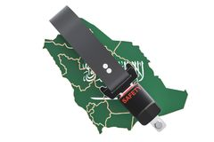 Saudi Arabia map with safety belt. Security and protect or insur. Ance concept, 3D Royalty Free Stock Photography