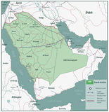 Saudi Arabia map with selectable territories. Vector Stock Image