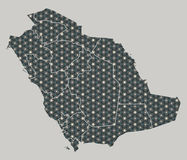 Saudi Arabia map with stars and ornaments including borders. Illustration Stock Photo