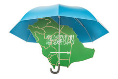 Saudi Arabia map under umbrella. Security and protect or insuran. Ce concept, 3D rendering isolated on white background Stock Photography