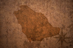 Saudi arabia map on vintage paper background Royalty Free Stock Photography