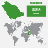 Saudi Arabia map on a world map with flag and map pointer. Vector illustration Stock Photo