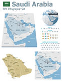 Saudi Arabia maps with markers Royalty Free Stock Images