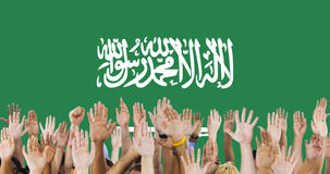 Saudi Arabia National Flag Group of People Concept Stock Images