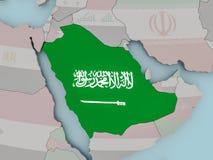 Saudi Arabia on political globe with flag. Saudi Arabia with national flag on political globe. 3D illustration Stock Photography