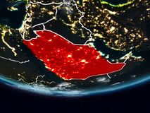 Saudi Arabia during night. Saudi Arabia on Earth at night with visible country borders. 3D illustration. Elements of this image furnished by NASA stock photography