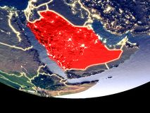 Saudi Arabia at night from space. Satellite view of Saudi Arabia from space at night. Beautifully detailed plastic planet surface with visible city lights. 3D stock photography