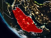 Saudi Arabia at night from space. With visible country borders. 3D illustration. Elements of this image furnished by NASA Vector Illustration