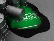 Saudi Arabia and oil. Abstract 3d illustration of oil with blood and Saudi Arabia flag Royalty Free Stock Photo