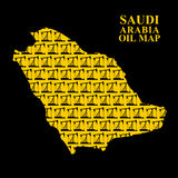 Saudi Arabia oil map. Silhouette of desert maps of oil rigs. Vec Royalty Free Stock Photography