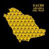 Saudi Arabia oil map. Silhouette of desert maps of oil rigs. Vec Royalty Free Stock Photography