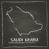 Saudi Arabia outline vector map hand drawn with. Stock Images